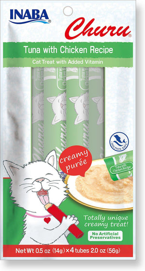 Inaba Churu Tuna with Chicken Creamy Purée Lickable Grain-Free Cat Treat-Le Pup Pet Supplies and Grooming