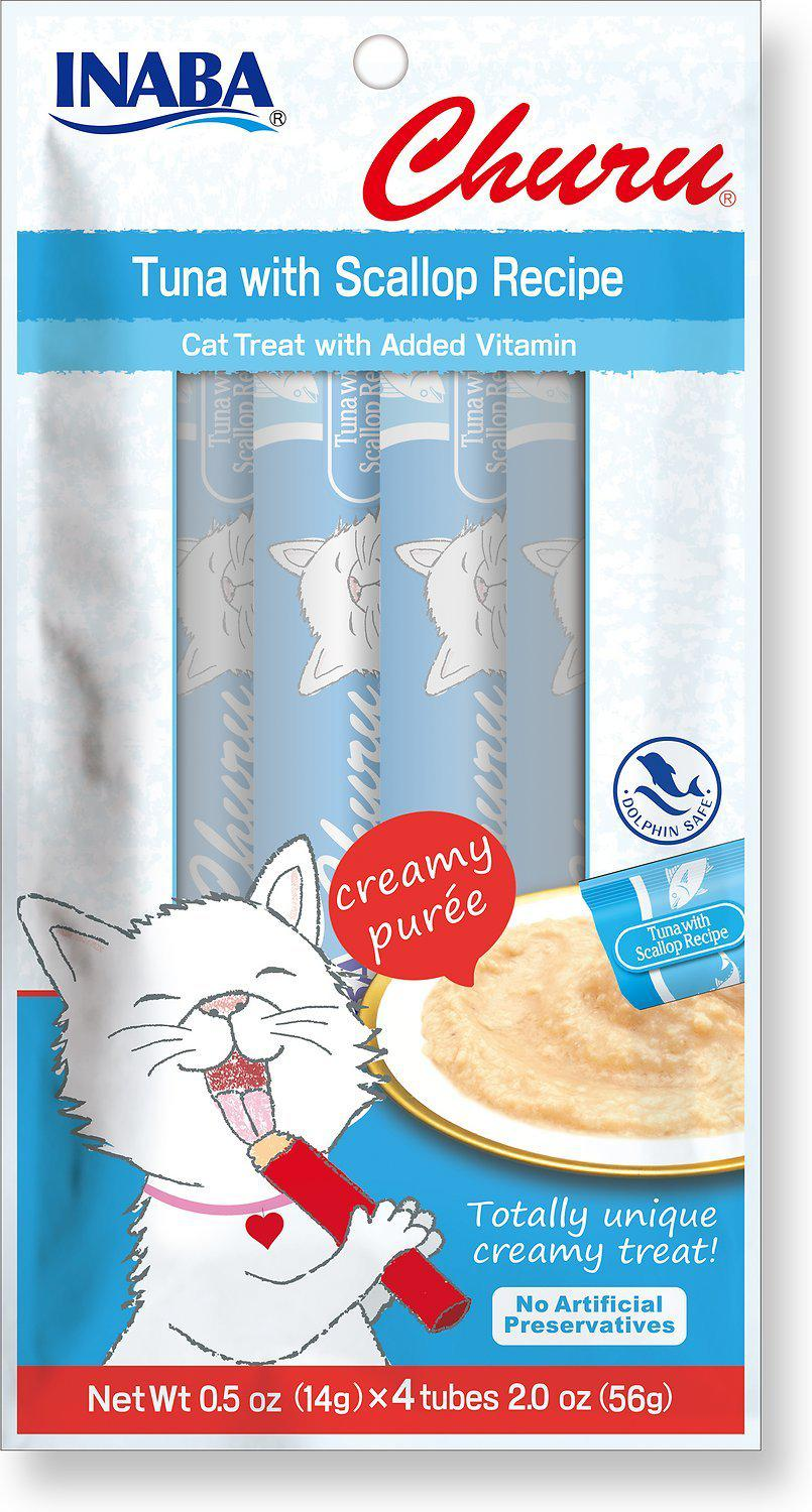 Inaba Churu Tuna with Scallops Creamy Purée Lickable Grain-Free Cat Treat-Le Pup Pet Supplies and Grooming