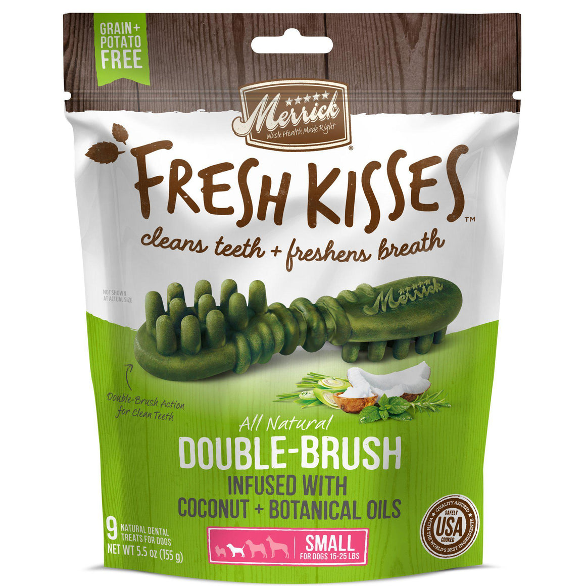 Merrick Fresh Kisses Double-Brush Coconut Oil & Botanicals Grain Free Dental Dog Treat-Le Pup Pet Supplies and Grooming