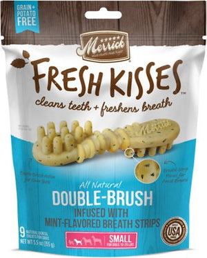 Merrick Fresh Kisses Double-Brush Mint Grain Free Dental Dog Treat-Le Pup Pet Supplies and Grooming