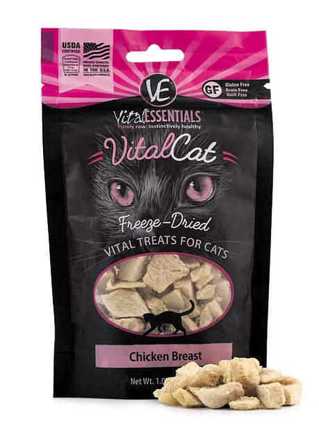 Vital Essentials Chicken Breast Freeze-Dried Raw Grain-Free Cat Treats, 1.0oz.-Le Pup Pet Supplies and Grooming
