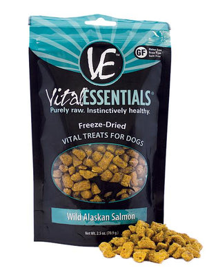 Vital Essentials Wild Alaskan Salmon Freeze-Dried Raw Grain-Free Dog Treats, 2.5oz.-Le Pup Pet Supplies and Grooming