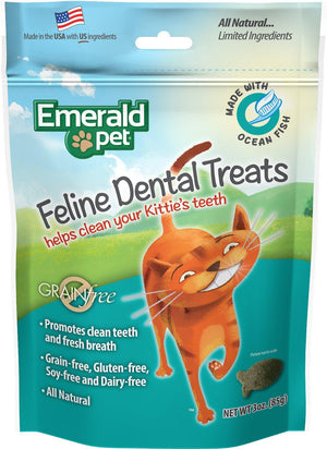 Emerald Pet Feline Dental Ocean Fish Grain-Free Cat Treats, 3oz.-Le Pup Pet Supplies and Grooming