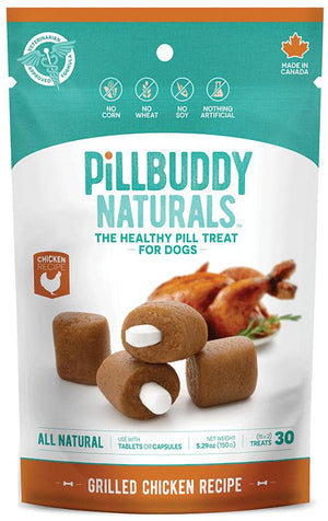 Pill Buddy Naturals Grilled Chicken Recipe Dog Treats, 30ct.-Le Pup Pet Supplies and Grooming