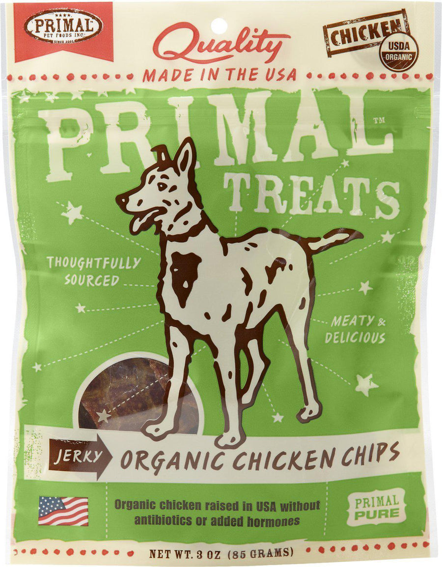Primal Organic Chicken Chips Jerky Grain-Free Dog Treats, 3oz.-Le Pup Pet Supplies and Grooming