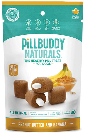 Pill Buddy Naturals Peanut Butter & Banana Dog Treats, 30ct.-Le Pup Pet Supplies and Grooming