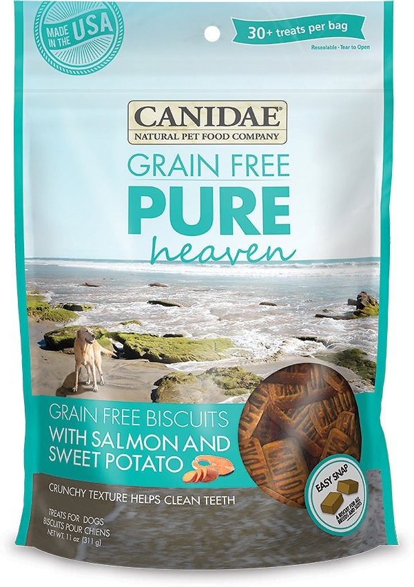 Canidae Pure Heaven Grain-Free Biscuits Salmon and Sweet Potato Crunchy Dog Treats, 11oz.-Le Pup Pet Supplies and Grooming