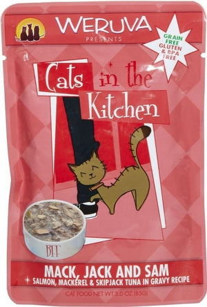 Weruva Cats In the Kitchen Mack, Jack and Sam Pouch Grain-Free Wet Cat Food-Le Pup Pet Supplies and Grooming
