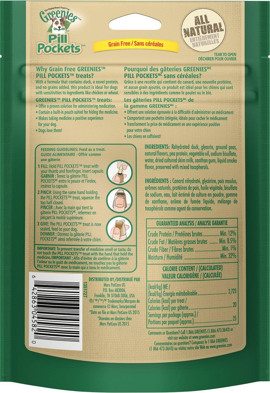 Greenies Pill Pockets Canine Duck & Pea Formula Grain Free Dog Treats-Le Pup Pet Supplies and Grooming