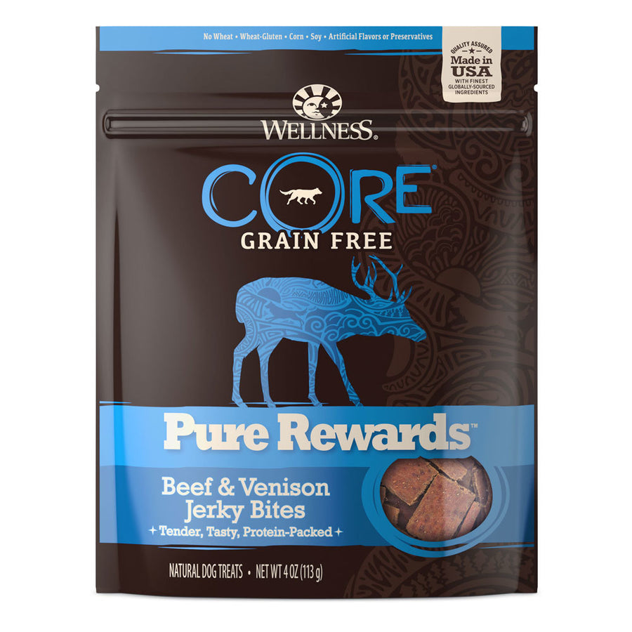 Wellness Core Pure Rewards Beef & Venison Jerky Bites Grain Free Dog Treats, 4oz.-Le Pup Pet Supplies and Grooming