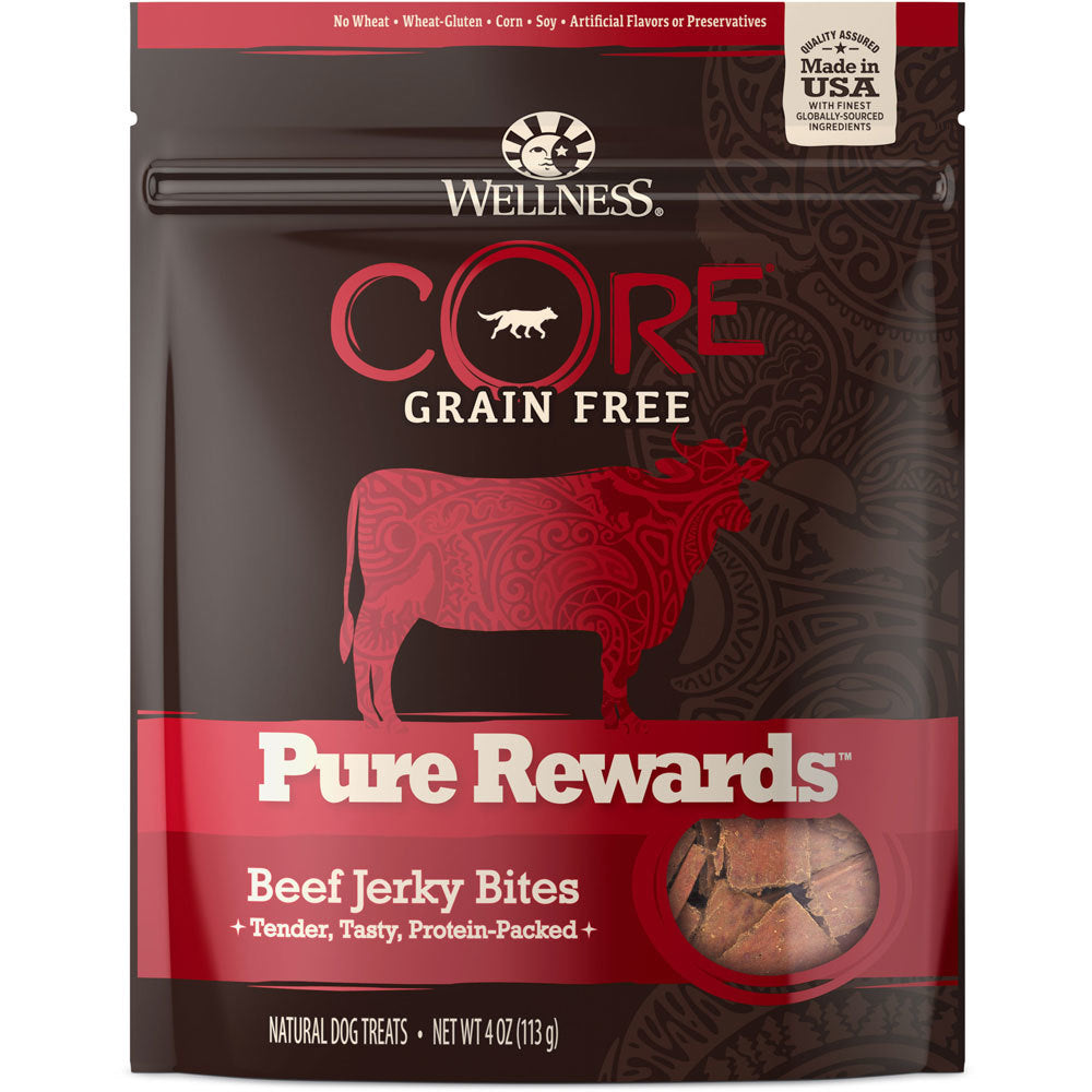 Wellness Core Pure Rewards Beef Jerky Bites Grain Free Dog Treats, 4oz.-Le Pup Pet Supplies and Grooming