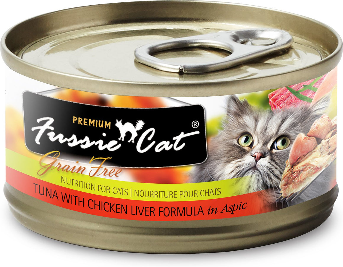 Fussie Cat Premium Tuna with Chicken Liver Formula in Aspic Grain-Free Wet Cat Food