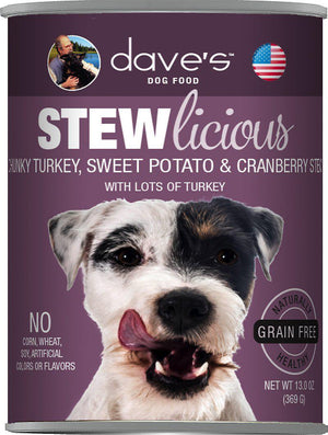 Dave's Pet Food Stewlicious Chunky Turkey, Sweet Potato & Cranberry Grain Free Stew Canned Dog Food-Le Pup Pet Supplies and Grooming