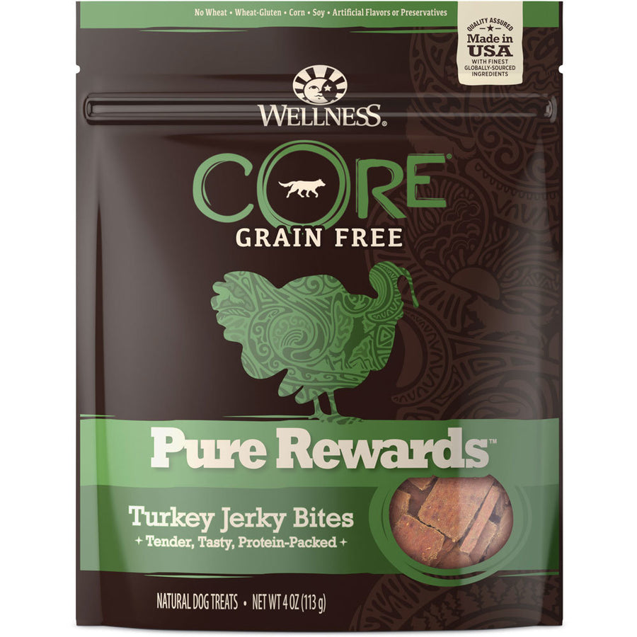 Wellness Core Pure Rewards Turkey Jerky Bites Grain Free Dog Treats, 4oz.-Le Pup Pet Supplies and Grooming