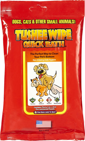 International Veterinary Sciences Quick Bath Tushee Wipes for Dogs and Cats, 30 count-Le Pup Pet Supplies and Grooming