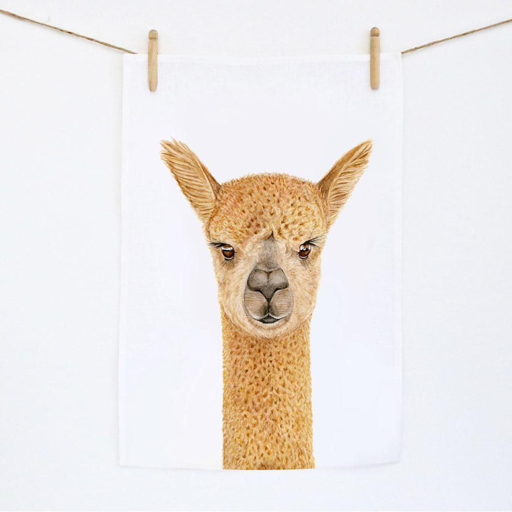 Alice the Alpaca  Tea Towel