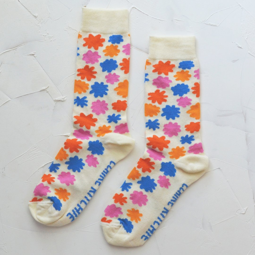 Flower Dreams Socks in Cream