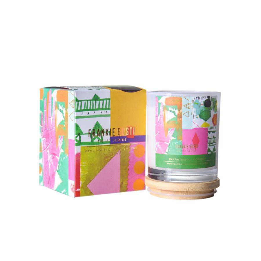 Kaffir, Mango and Coconut  Wood Lid Soy Candles - Artist Series Maria Flores