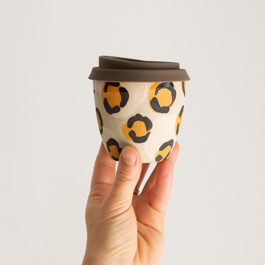 Reusable takeaway cup ~ Leopard 8oz