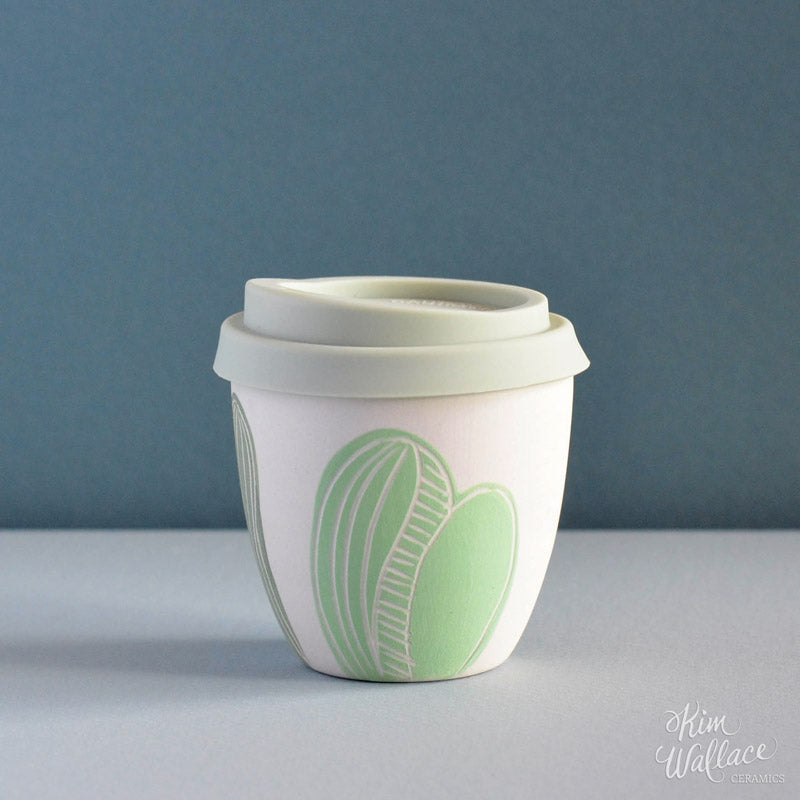 Reusable takeaway cup ~ green cactus 8oz