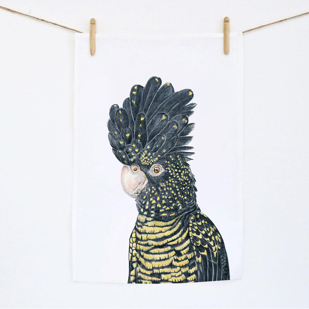 Lily the Red Tailed Black Cockatoo Tea Towel