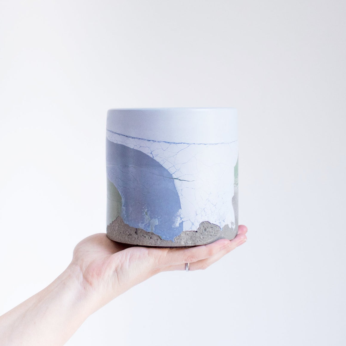 Medium Concrete Vessel - Blues/Green/Grey