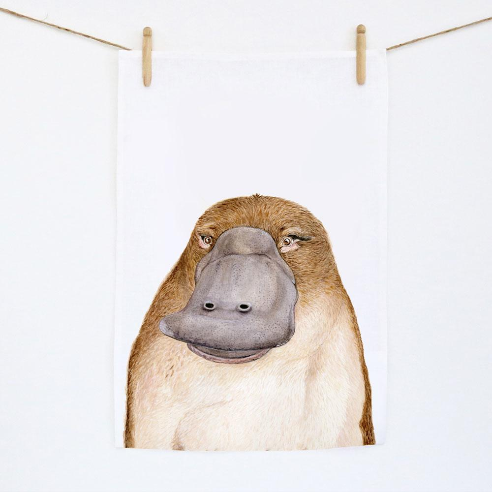 Poppy the Platypus Tea Towel