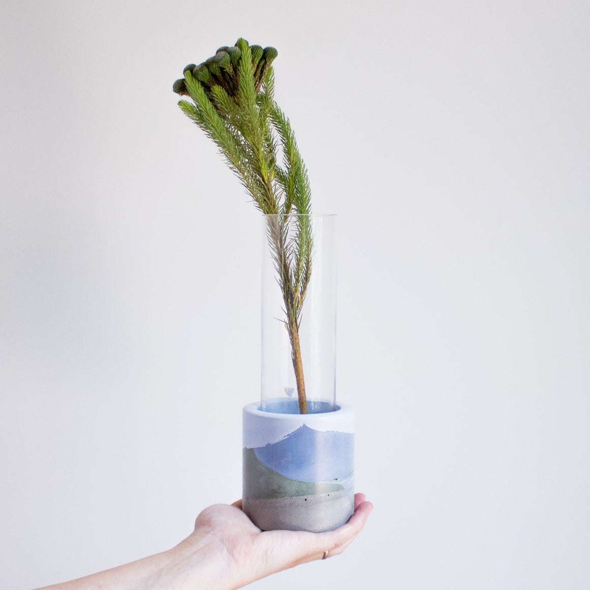 Small Concrete Vase - Blues/Green/Grey