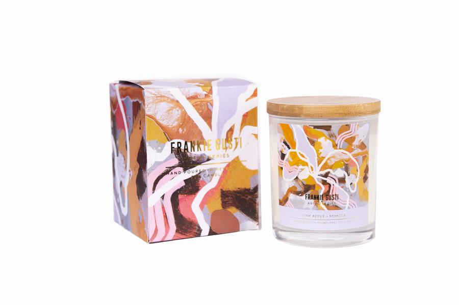 Pink Apple + Mimosa Wood Lid Soy Candles - Artist Series Rebecca Kate