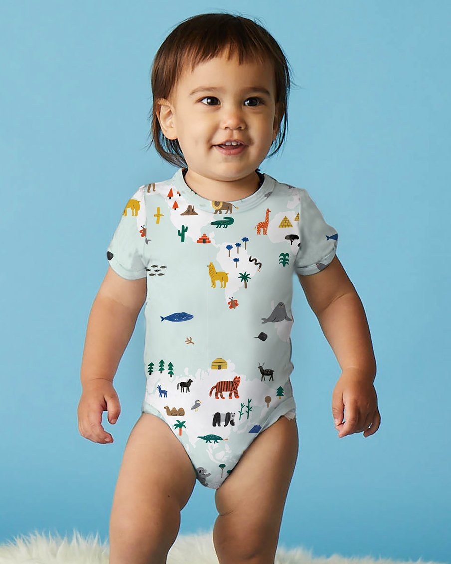 World Map - Short Sleeve Bodysuit