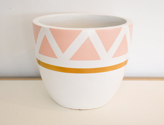 Small Pot with Tray - Terracotta Hand Painted - Assorted design/colour