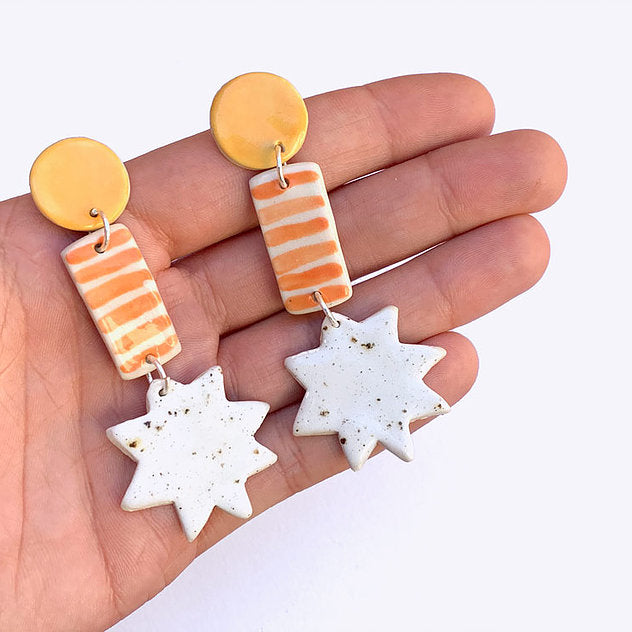 North Star Ceramic Drop Earrings