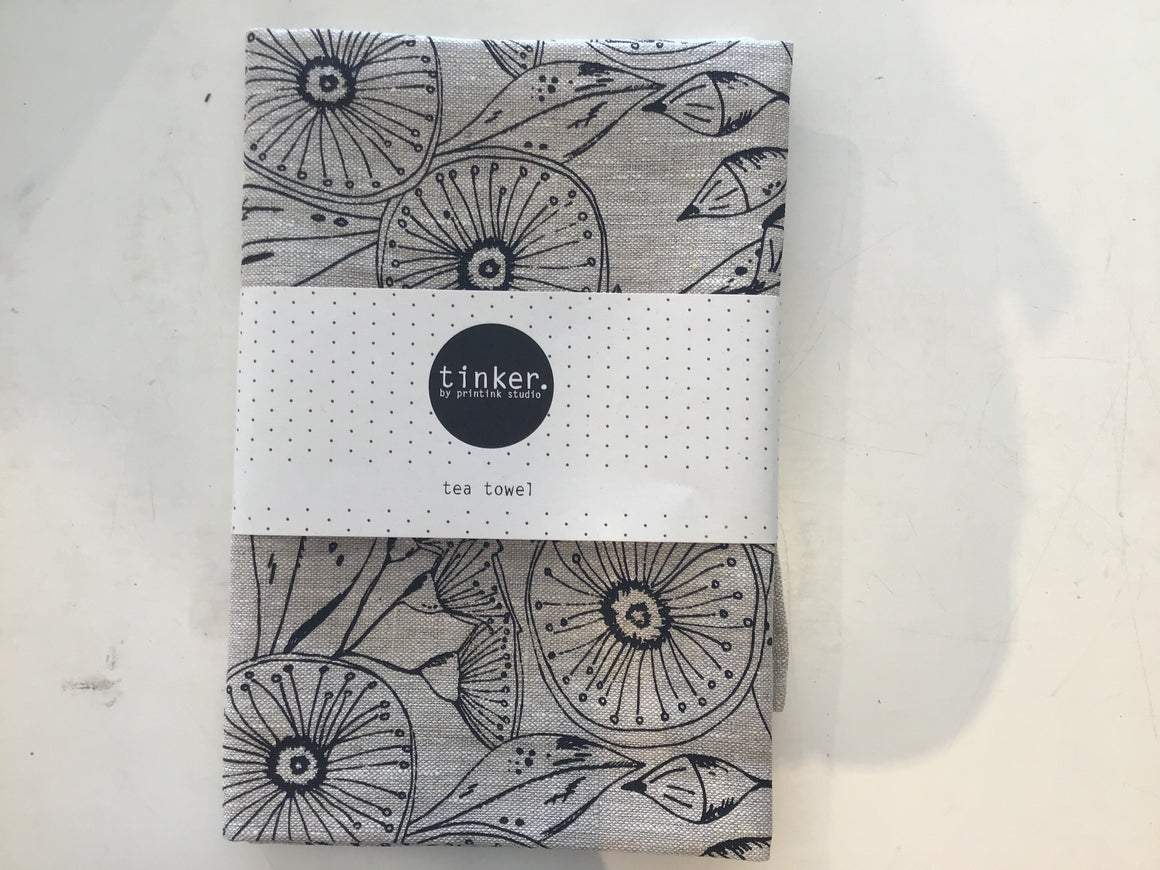 Natural tea towel Gum flower / Black