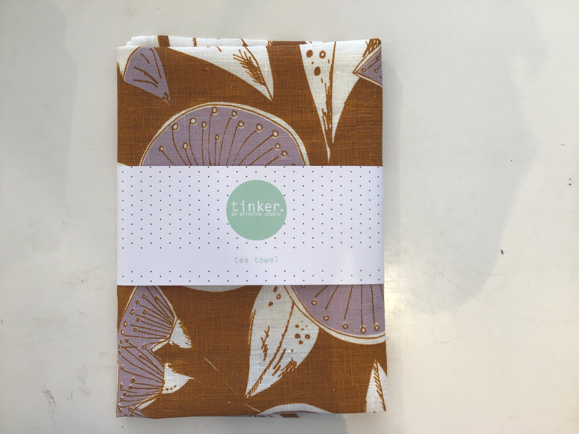 Gum Flower tea towel Caramel