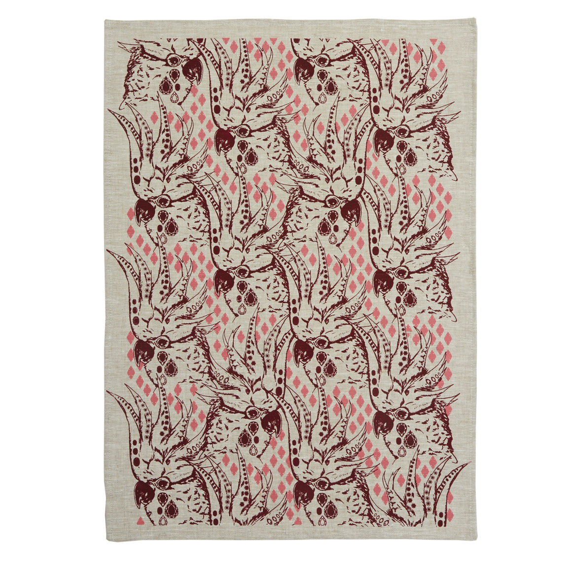 Cockatoo tea towel Burgundy