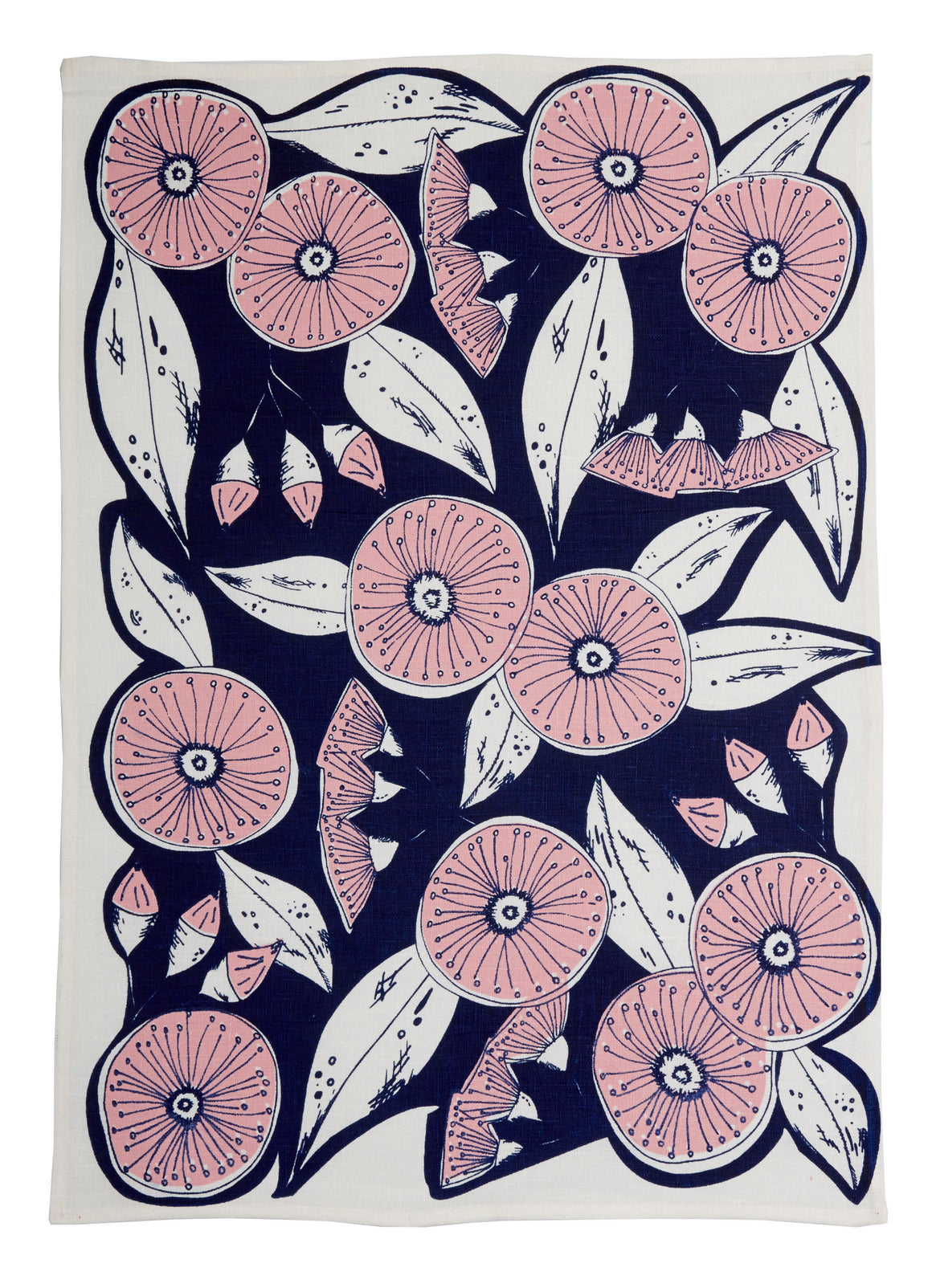 Gum Flower tea towel Ink