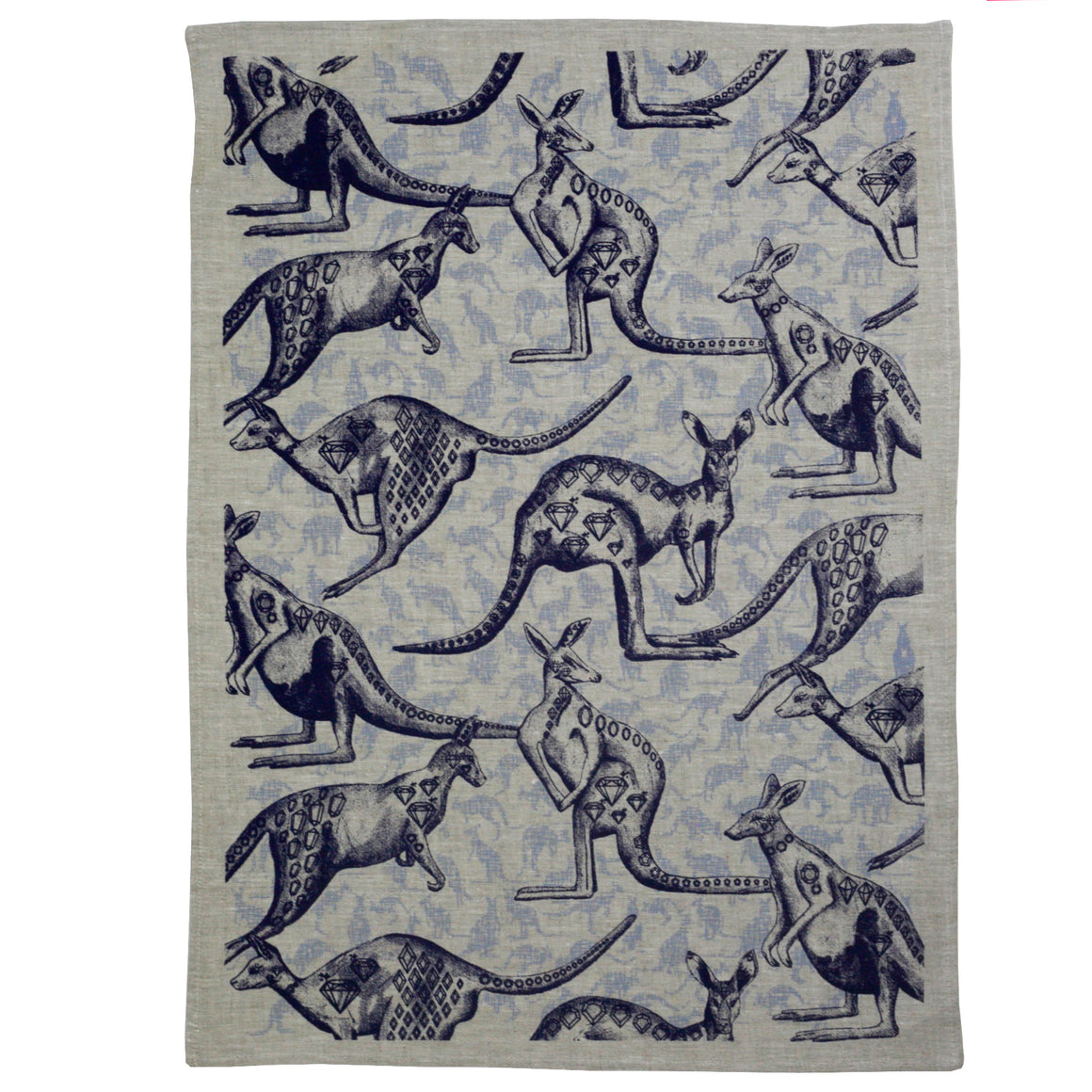 Roo tea towel ink