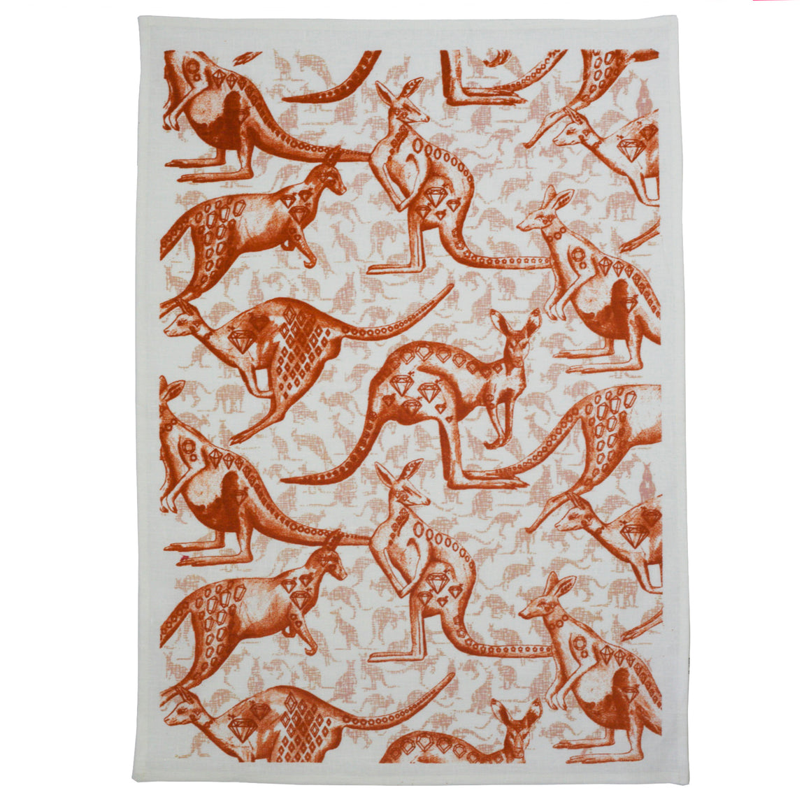 Roo tea towel Terracotta