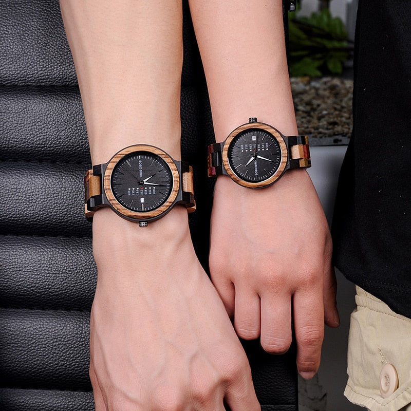 two wooden watches