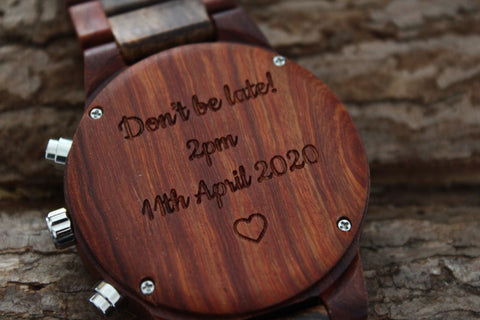 engraved wooden watches