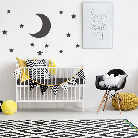 Moon and stars wall sticker decal