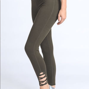 JP Activewear Criss Cross Leggings-Olive Green