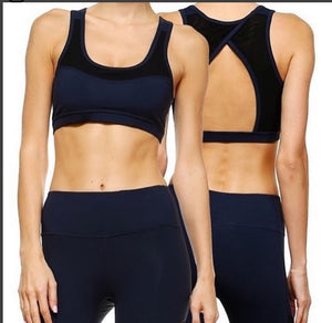 JP Activewear Stylish Athletic Sports Bra-Navy & Black