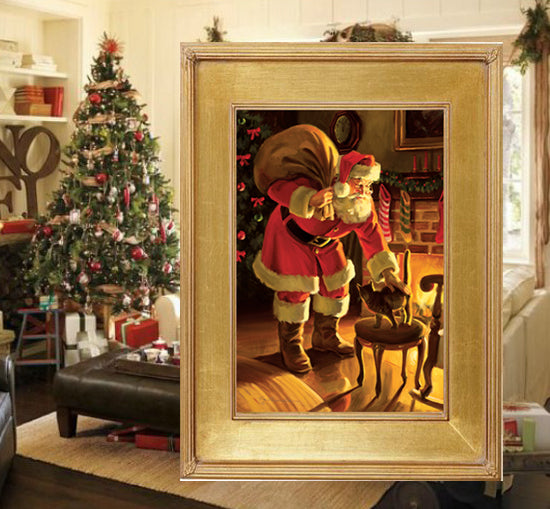 "C1053 Christmas Company Small Canvas Giclee - Framed  11"" X 14"""