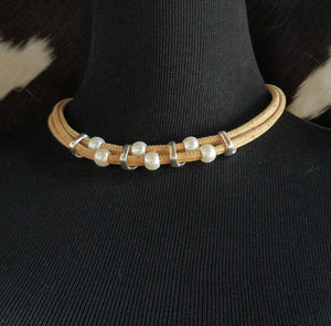 JA1001 Cork and Pearl Necklace