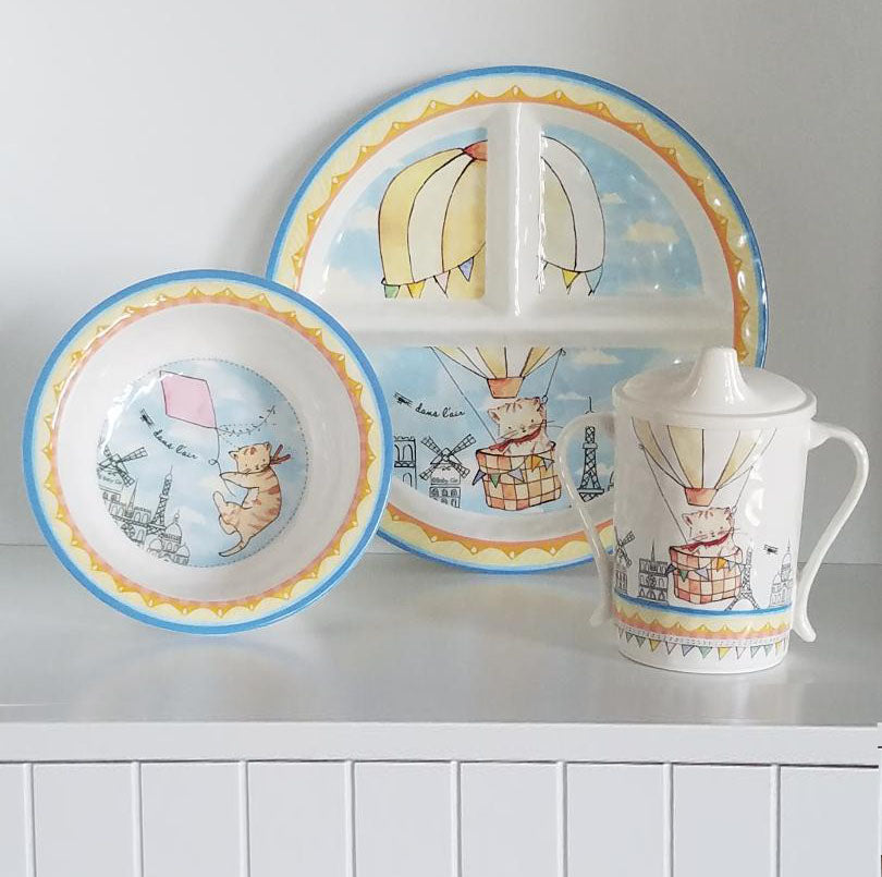 B1029 Up in the Air Plate, Bowl and Sippy Cup (Set of 3)