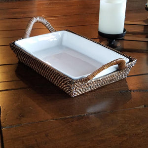 E1026 Rectangular Tray with Wrpped Handles CPR8