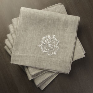 W1044 Flax Napkins with Royal Crown