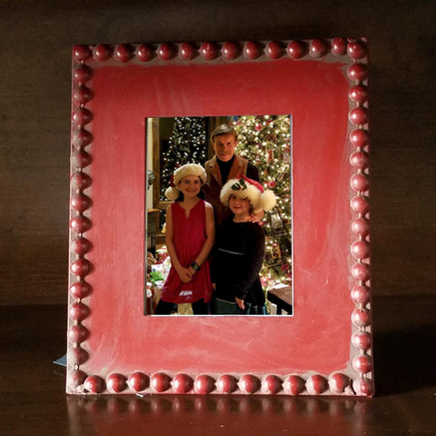 CH1005 Christmas Red Beaded Frame 5 X 7