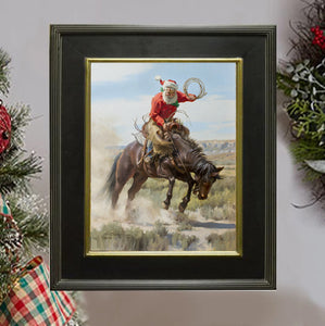 "C1057 Fun In The Saddle Small Giclee - Framed   11"" X 14"""